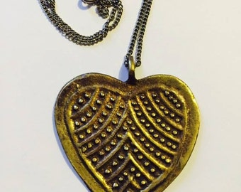 Vintage Brass Heart necklace
