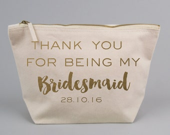 Thank You My Bridesmaid / Wedding Favour Gift Bag / Large Zipped Make up / Toiletry Bag with Gold foiled Text on a Natural Cotton Canvas