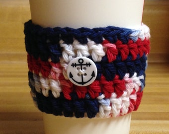 Red, white & blue coffee cozy