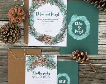 Winter Wreath Wedding Invitation Sample