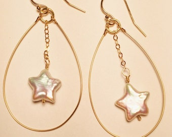 Star Fresh water peartl dangles on gold filled chain with hoop earrings