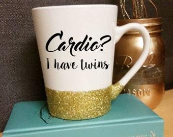 Cardio? I have Twins - Custom Glitter Mug