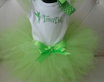 3 Piece Tinkerbelle Costume, Tinkerbelle Tutu, Lime Green Tutu, Baby Girl First Birthday Cake Smash Costume with Hairband and Bow