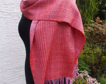 scarf made of non-violent silk, pink - orange