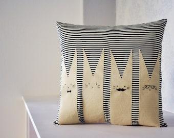 cute pillow with rabbit family - kawaii
