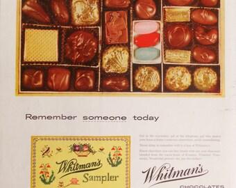 Whitman's Sampler Chocolates.  1955 Whitman's Sampler Chocolates ad.  Whitman's Sampler.