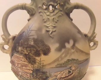 Antique vintage hand painted Nippon double handles vase with beaded trim scenic