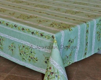 French Provence PETITE OLIVE GREEN Rectangle Tablecloths - French Oilcloth Indoor Outdoor Coated Laminated Tablecloth - Napkins available