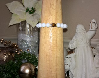 White Marble Cuff - pave crystal bead
