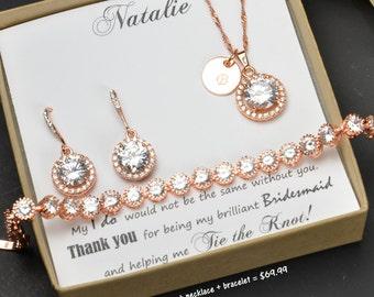 Personalized Bridesmaid Gift, Bridesmaid Earrings Bracelet Set, Crystal Wedding Jewelry Gift Set, Bridal Studs Bracelet Set ,bridesmaid gift