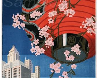 Vintage Tokyo Japan Travel Poster Print