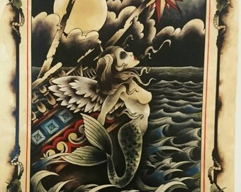 A3 print: Ships figure head on stormy waters