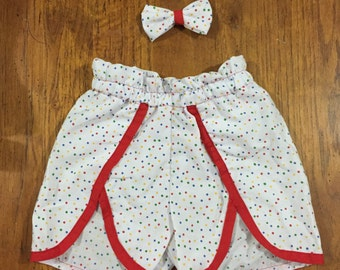 Little N Shorts for Girls Size 3 with Hair Bow