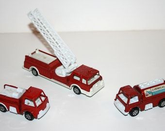 Vintage 1980's TOOTSIETOY Lot of 3 Fire Engine Trucks - Made In USA