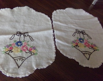 Vintage Needlepoint Placemats or Doilies 8x10