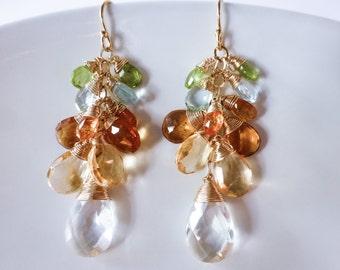 Citrine Cluster Earrings, Yellow Citrine Earrings, Citrine Statement Earrings, Rock Crystal Earrings, Gemstone Gold Filled Dangle Earrings