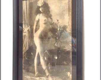Hand aged reproduction Victorian erotica pinup in frame.