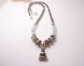 Buddha Labradorite Aquamarine Necklace Sterling Silver Beaded Necklace Labradorite Jewelry Aquamarine Jewelry Beaded Necklace Gemstone