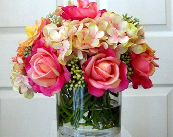 Real Touch Flowers in Handmade-Faux Floral Arrangement-Flower Arrangement-Silk Flowers in Home Decor--Fake flowers