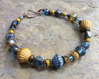 Mustard and denim bracelet