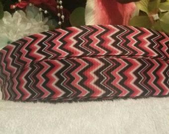"3 yards, 7/8"" pink, white, and black chevron print grosgrain ribbon"