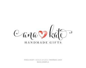 Premade Heart Logo, Watercolor Heart Logo, Gold Heart, Romantic Logo, Photography Logo, Watermark Photography Heart, Wedding Logo Design