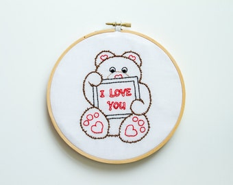 Bear Hand Embroidery Hoop Art, Hearts