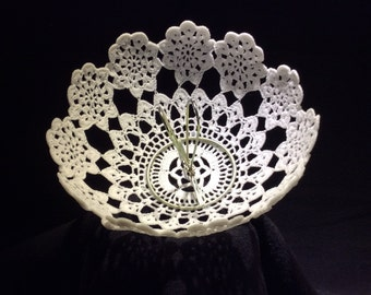 Hand made crocheted lamp shade