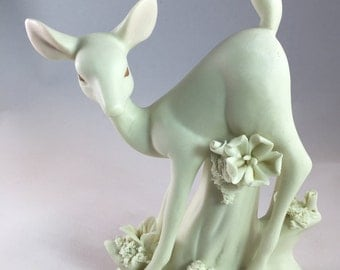 Elegant White Fawn Deer Figurine With Flowers