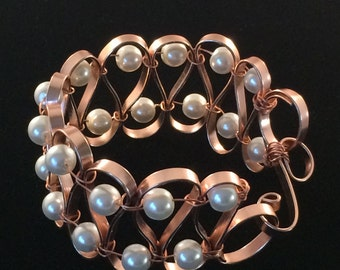 Pearls with Copper Wire Bracelet