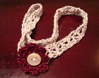 Headband with Maroon Crocheted Flower and Vintage Button!