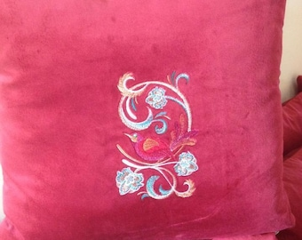 Art Nouveau Embroidered Bird Cushion Cover