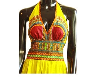 One-of-a-Kind Tawala Yellow Angelina Halter Dress