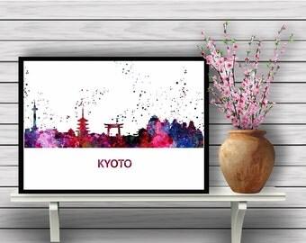 Kyoto Skyline , Japan, watercolor painting, poster, Kyoto Wall Art, Kyoto city, Kyoto Print, Kyoto Art, City Print, Travel(02)