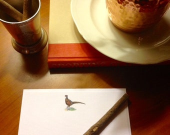 Elegant Pheasant on White Linen Stationery, set of 20 4x6 Note Cards with Envelope. For the Well-Appointed Desk, Woodland Series
