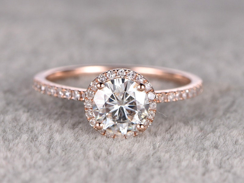 1.25ct brilliant Moissanite Engagement ring Rose gold,Diamond wedding  band,14k,7mm Round Cut,Gemstone Promise Bridal Ring,Halo,Anniversary