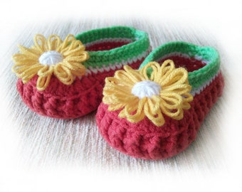 Baby booties Watermelon Red crochet (Пинетки-туфельки для девочки)