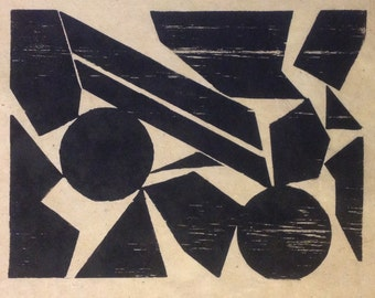 original limited edition woodcut print of geometric shapes