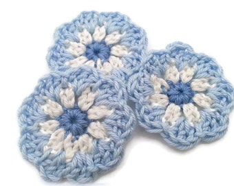 set of 3 crochet flowers Misty Blue large