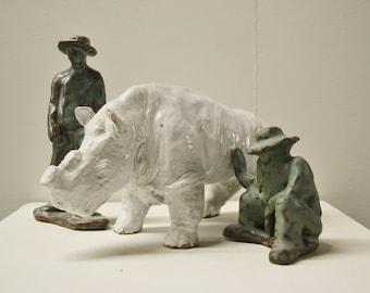 Small White Rhino Sculpture