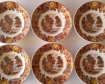 Vintage Nasco Mountain Wood-land set of Six 1940's  Dessert - Salad bowls, white and brown china with Country Design