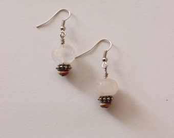 Neutral Stone and Wood Earrings