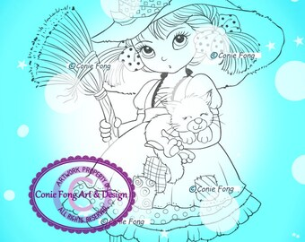 SALE- Digital Stamp, Digi Stamp, digistamp, Priscilla Revised by Conie Fong, Halloween, Witch, Girl, children, coloring page