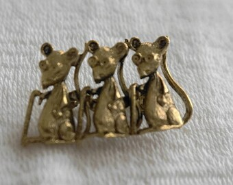 Vintage Three 3 Blind Mice Brooch