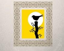 Bird Wall Art, Yellow Wall Art, Bird Wall Decor, Bird Art, Bird Decor, Bird Printable, Bird Silhouette, Digital Download, Printable Decor