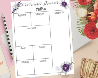 Christmas Menu Planner, Christmas Meal Planner, Christmas Printable, Christmas Planner, Meal Planner, Menu Planner, Organizer