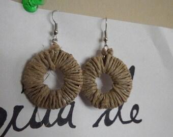 Hemp Wrapped Hoop Earrings