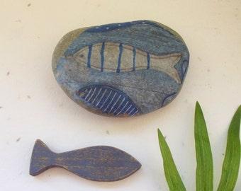 Stone marine fish, paperweight