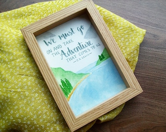 Handpainted Fall Adventure Quote in Wooden Frame