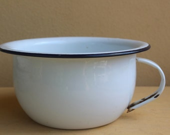 Vintage Enameled Tin chamber pot